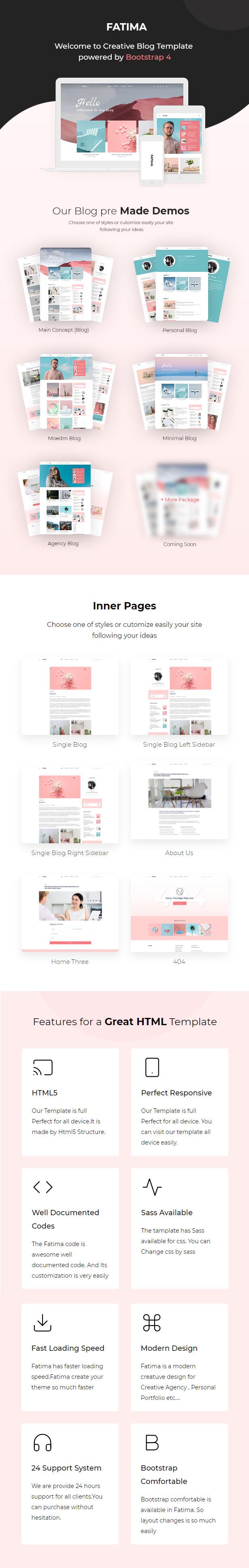 Fatima - Creative Personal Blog Bootstrap 4 Template - 1