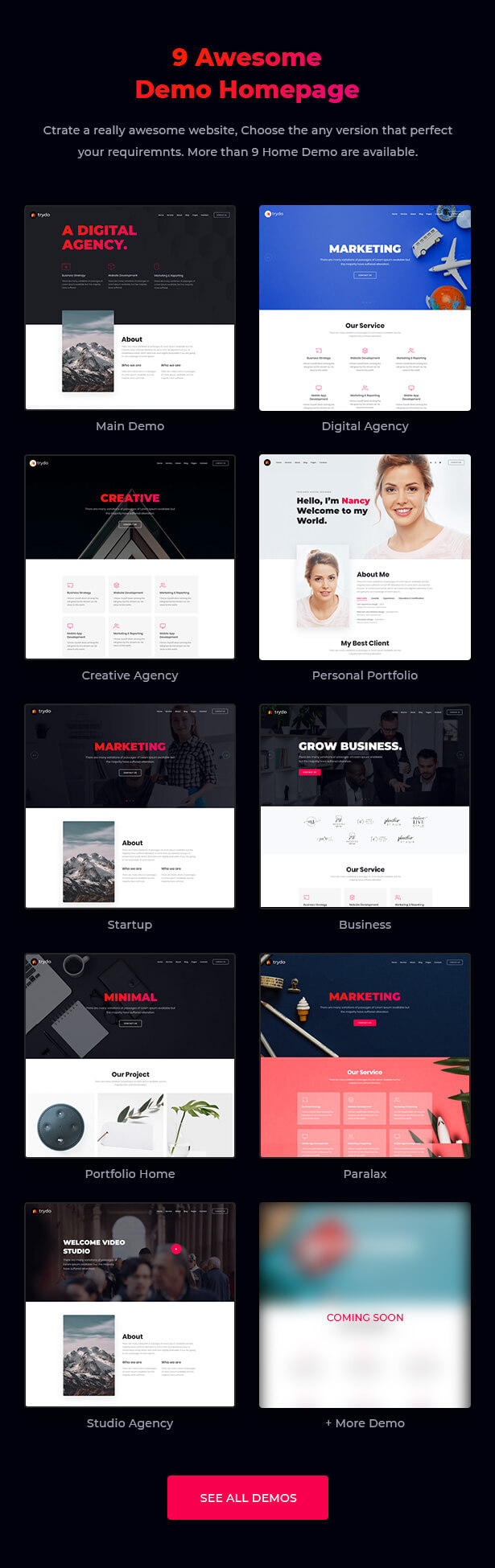React Creative Agency, React Portfolio and Corporate Multi Purpose Template - Trydo - 6